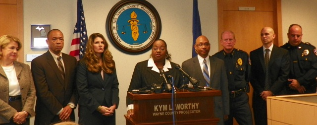 Wayne County Prosecutor Kym Worthy, flanked by assistant prosecutors and other officials, announces charges against Renisha McBride's killer Nov. 15, 2013.