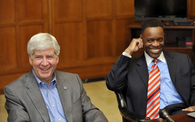 Gov. Rick Snyder, Detroit EM Kevyn Orr during a jolly moment.