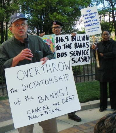 Protest demanding that the banks and corporations pay for city services, cancellation of debt May 9, 2012 in downtown Detroit.