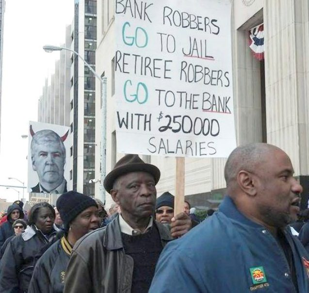 Protest during bankruptcy hearing in Detroit as Mich. Gov. Rick Snyder testifies/ Photo: Cheryl Labash/WW