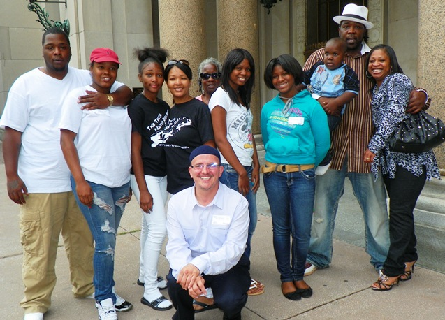 Davontae's family, including mother Taminko Sanford-Tilman and father at right, along with supporters at Appeals Court hearing Aug. 6, 2013. Paralegal Roberto Guzman, who has tirelessly fought for Davontae's freedom, is shown in center front.