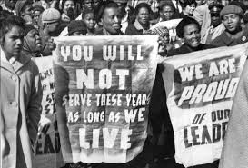 Demonstration against guilty verdict at Rivonia treason trial.
