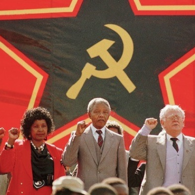 Winnie and Nelson Mandela with South African Communist Party President Joe Slovo.