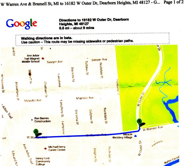 Map of short distance (half-mile) between accident scene and Wafer's home.