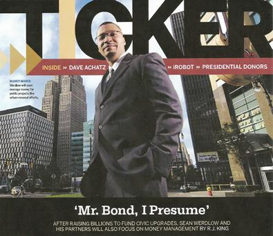 Sean Werdlow on cover of Ticker magazine in 2008, prior to the fall of Mayor Kwame Kilpatrick.