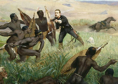 Zulu warriors valiantly fought British and French troops in the 19th century, many times triumphing. Here, the Prince Imperial, son of Napoleon, is killed in 1879.