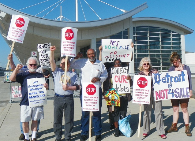 Protest outside Wayne County Airport June 14, 2013 as Kevyn Orr presented his Proposal to Creditors.