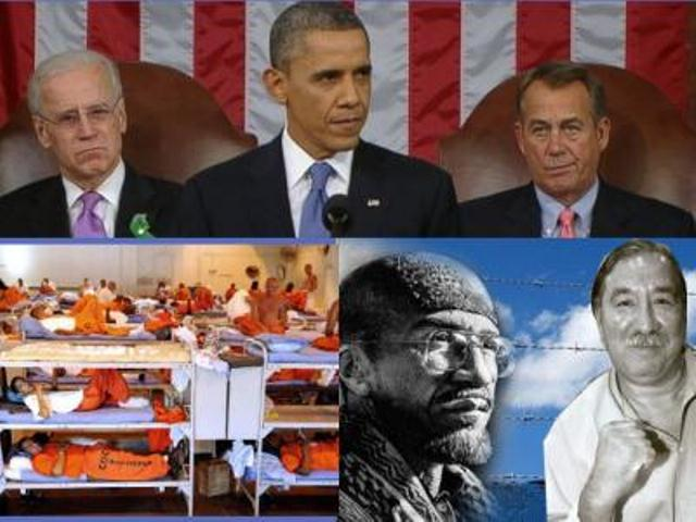 Pres. Barack Obama at top, with California prisoners loaded in like slaves, Amir El-Amin and Leonard Peltier at bottom.