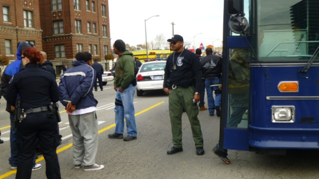 Detroit police Gestapo raid on Colony Arms Apts. Nov. 2013, occupied by Black youth and their families.