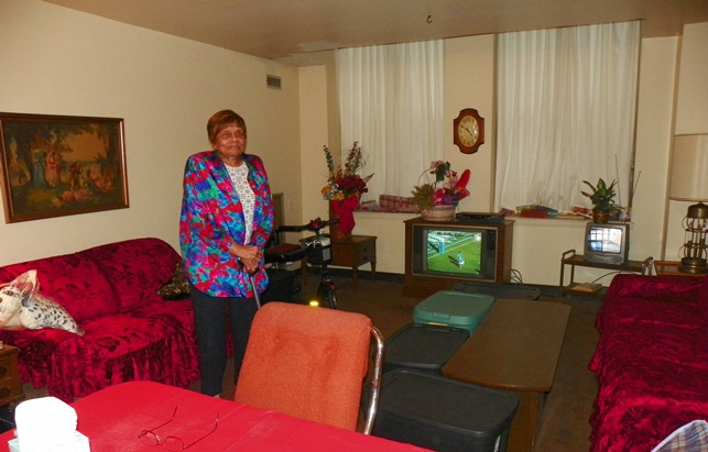 Esther Harding, 91, has lived in this spacious apartment at the Griswold for 30 years, the longest of any tenant.