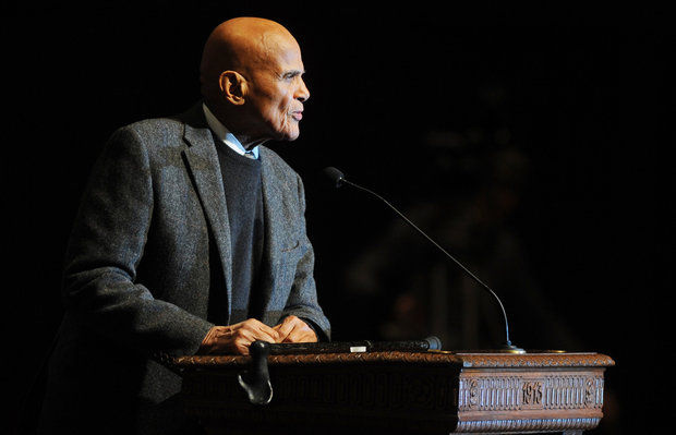 Activist and entertainer Harry Belafonte gives the keynote address for the Rev. Dr. Martin Luther King Jr. Symposium at Hill Auditorium on the University of Michigan campus in Ann Arbor, Mich., for Martin Luther King Jr. Day, on Monday, Jan. 20, 2014. (AP Photo/The Ann Arbor News, Melanie Maxwell) (Melanie Maxwell   The Ann Arbor News)
