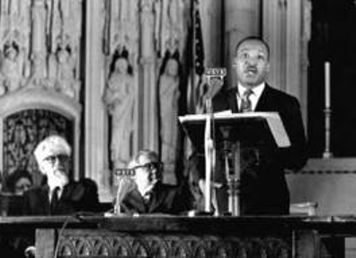 "Dr. Martin Luther King, Jr. delivering his historic speech, ""A Time to Break Silence"" at Riverside Chuch in NYC."