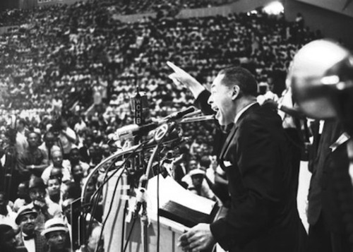 What would Dr. Martin Luther King, Jr. say about the unequal situation in which Detroiters find themselves today. Here he is shown addressing 1963 rally in Detroit.