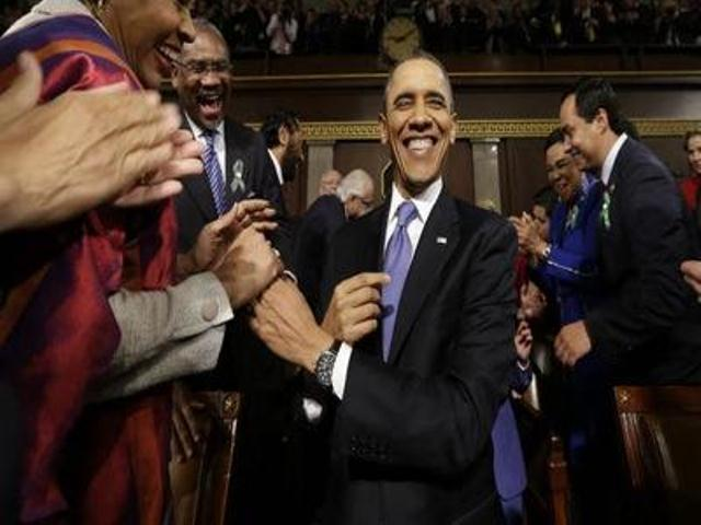 President Barack Obama after his State of the Union address Jan. 29, 2014
