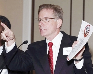 """Judge Steven W. Rhodes """"chairs"""" one-sided forum on EM's and Chapter 9 bankruptcy Oct. 10, 2012. Participants included two EM trainers, one PA 4 co-author, and Charles Moore of Conway McKenzie, a chief witness for Jones Day at the bankruptcy trial."""