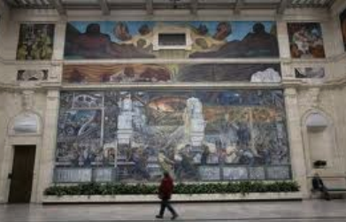 One of a series of famed murals by Diego Rivera in the DIA. Rivera was a Communist who believed that working and poor people should take power from the rich.,