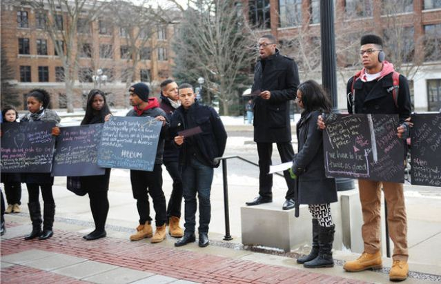 U-M student Erick Gavin speaks at rally on Dr. Martin Luther King, Jr. holiday,