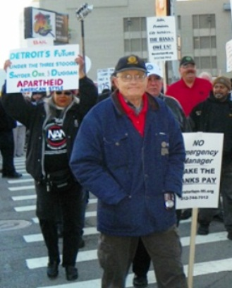 March outside bankruptcy hearing Oct. 23, 2013 targets apartheid-style policies of Snyder, banks.