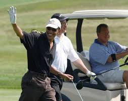 Pres. Barack Obama playing golf with CEO of UBS AG America, one of his strongest supporters. No wonder Obama won't come to Detroit.