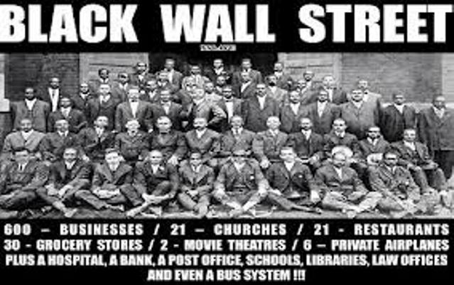 "Greenwood or ""Little Africa"" section of Tulsa, Oklahoma, was known as ""Black Wall Street"" before whites burned it down in 1921."