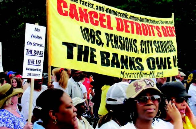 Retirees and residents of Detroit demand cancellation of the city's debt to criminal banks.