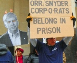 Protest outside courthouse during Detroit bankruptcy hearing Oct. 28, 2013.