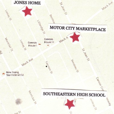 Sites of Aiyana Jones and Jerean Blake's deaths, close to Southeastern High School.