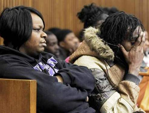 Jerean Blake's mother is shown sitting with Jerean's friend Jacquavis (J-Roc) Richards during trial in this Detroit News photo.