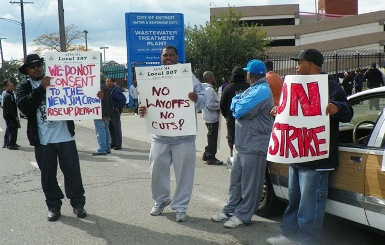 City of Detroit workers strike Wastewater Treatment Plan Sept. 30, 2012.
