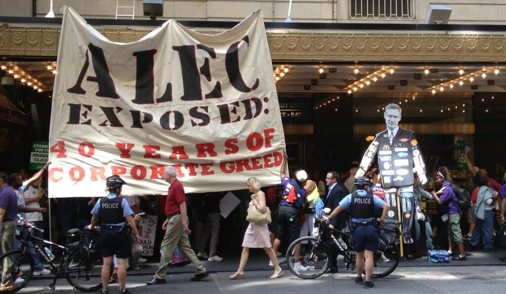 Mass protest outside ALEC's 2013 convention in Chicago.