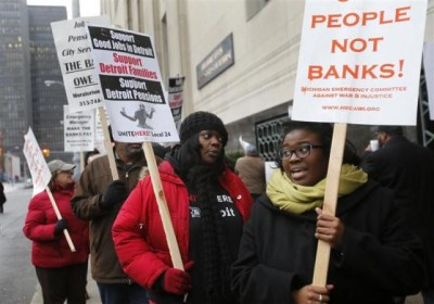 Detroit retirees protest theft of their pensions at bankruptcy court. Photo/Popular Resistance