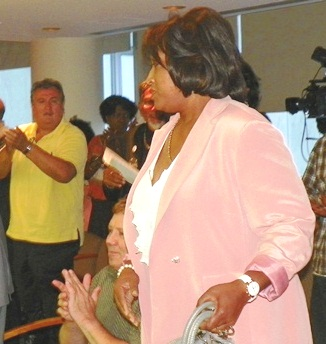 Sherry Gay-Dagnogo is applauded at Detroit City Council meeting Aug. 30, 2012 for her remarks on campaign for equal treatment for Black and Latin majority school districts.