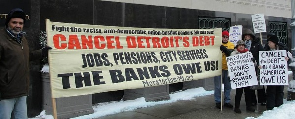 Protest outside Detroit bankruptcy court.