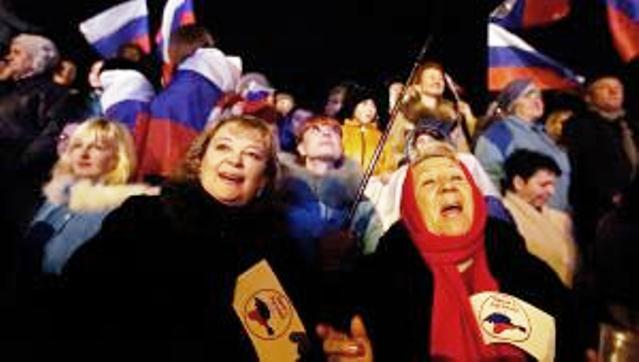 Crimean voters celebrate overwhelming victory at polls.