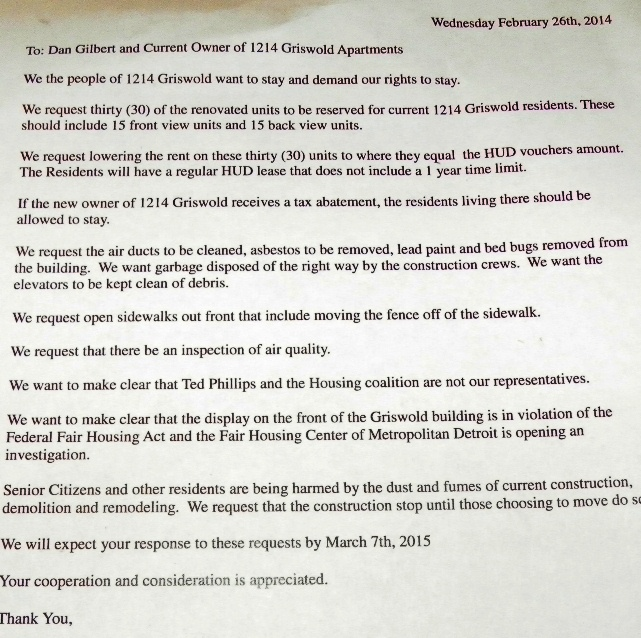 "Demands to Gilbert et al being circulated by Griswold tenants. The deadline date at the bottom, which says March 7, 2015, is meant to read ""2014,"" and will be corrected in final version."