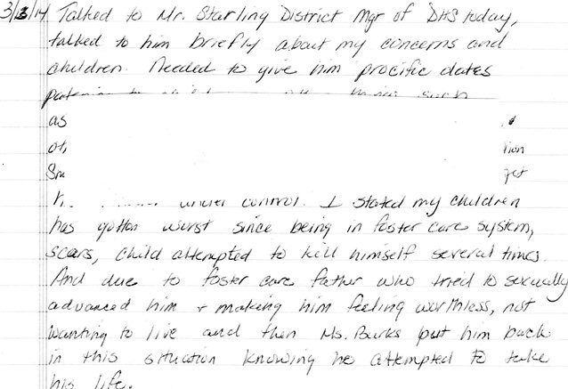 Record of contact with Mr. Starling of DHS regarding child's suicide attempts.