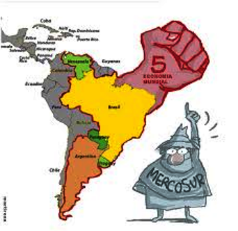 Five member nations of MERCOSUR are shown in color.
