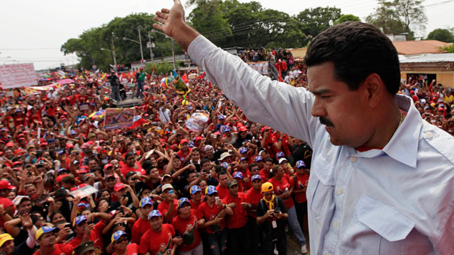 Venezuelan President Nicholas Maduro addresses mass rally of Venezuelan people.