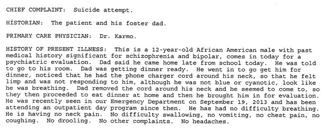 CHM records; foster father had child eat dinner before taking him to CHM!