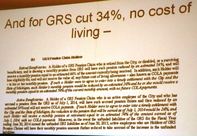 Cuts for GRS workers will actually exceed 34 percent, up to 70 percent including COLA and benefit cuts.