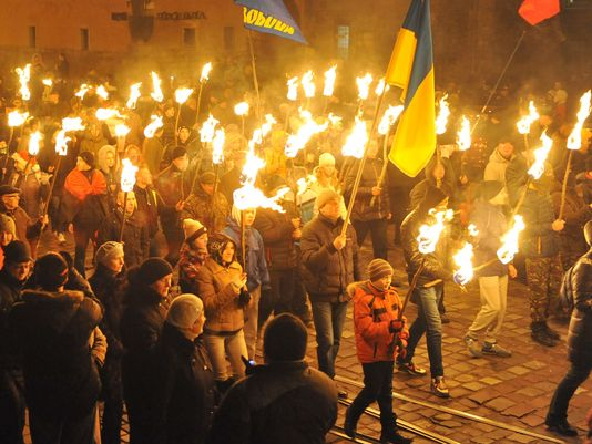 Torchlight ceremony in Kiev Jan. 1, 2014 honoring Nazi collaborator,
