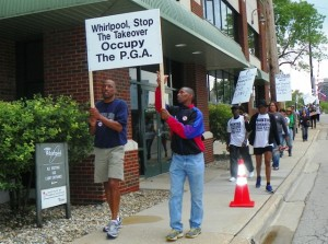 Youth lead march against Whirlpool and PGA May 26, 2012.