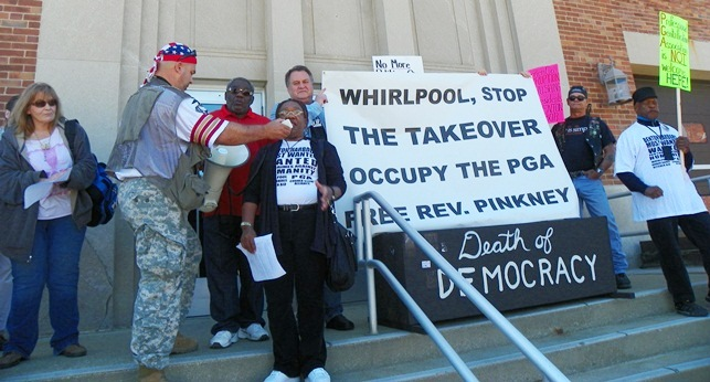 Dorothy Pinkney, Rev. Edward Pinkney's wife, addresses rally on Benton Harbor City Hall steps May 24, 2014.