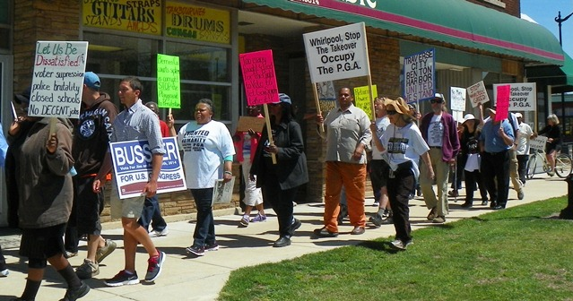 Pinkney supporters march down Main St. in Benton Harbor May 24.