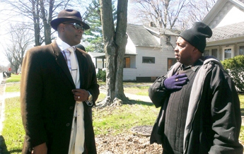 Mayoral candidate Marcus Muhammad with James Cornelius.