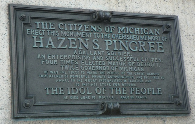 "Plaque on statue of ""people's mayor"" Hazen Pingree."