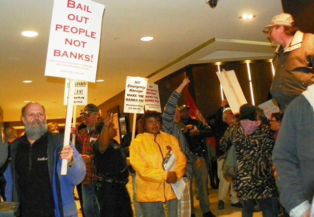 Marchers pack lobby of Westin Book Cadillac, where Orr resides.