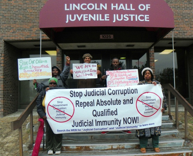 Supporters of the McGruder/Simmons family protested earlier outside family court.