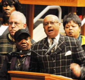Rev. Pinkney speaks at first rally against Public Act 4 in Detroit in Jan. 2011. His wife Dorothy is at his right.