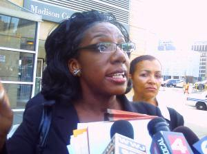 Attorney Allison Folmar speaks to media about police arrest of Maryanne Godboldo, after court hearing July 8, 2011.